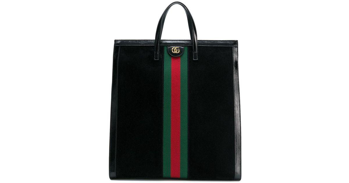 a178b580515e2f Gucci Ophidia Web Logo Tote Bag in Black - Lyst