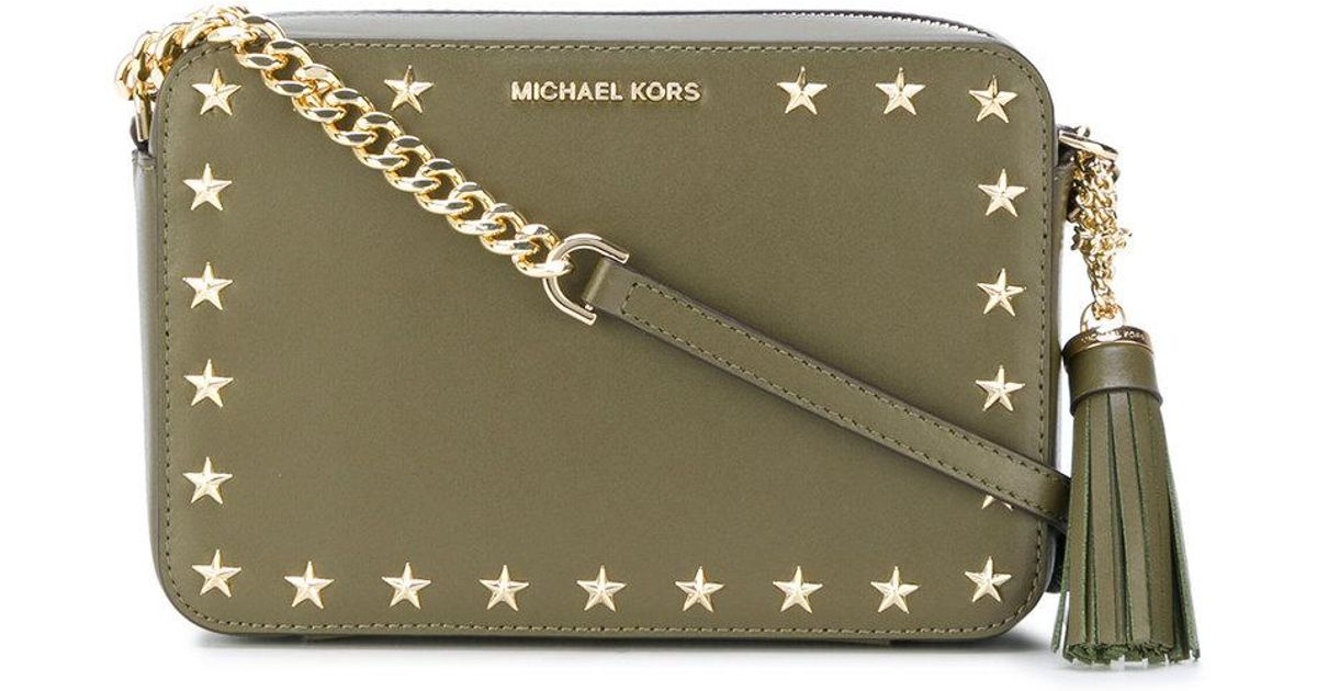 beaed91e9971 MICHAEL Michael Kors Star Studded Crossbody Bag in Green - Lyst