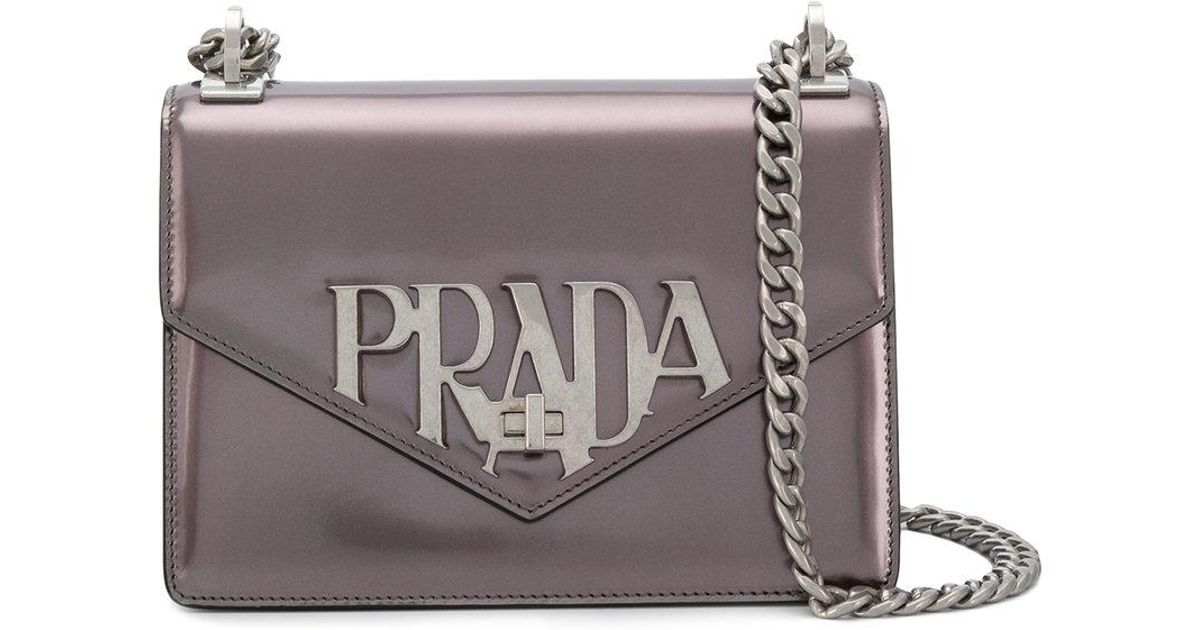 f76529b221b994 Prada Logo Plaque Crossbody Bag in Metallic - Lyst