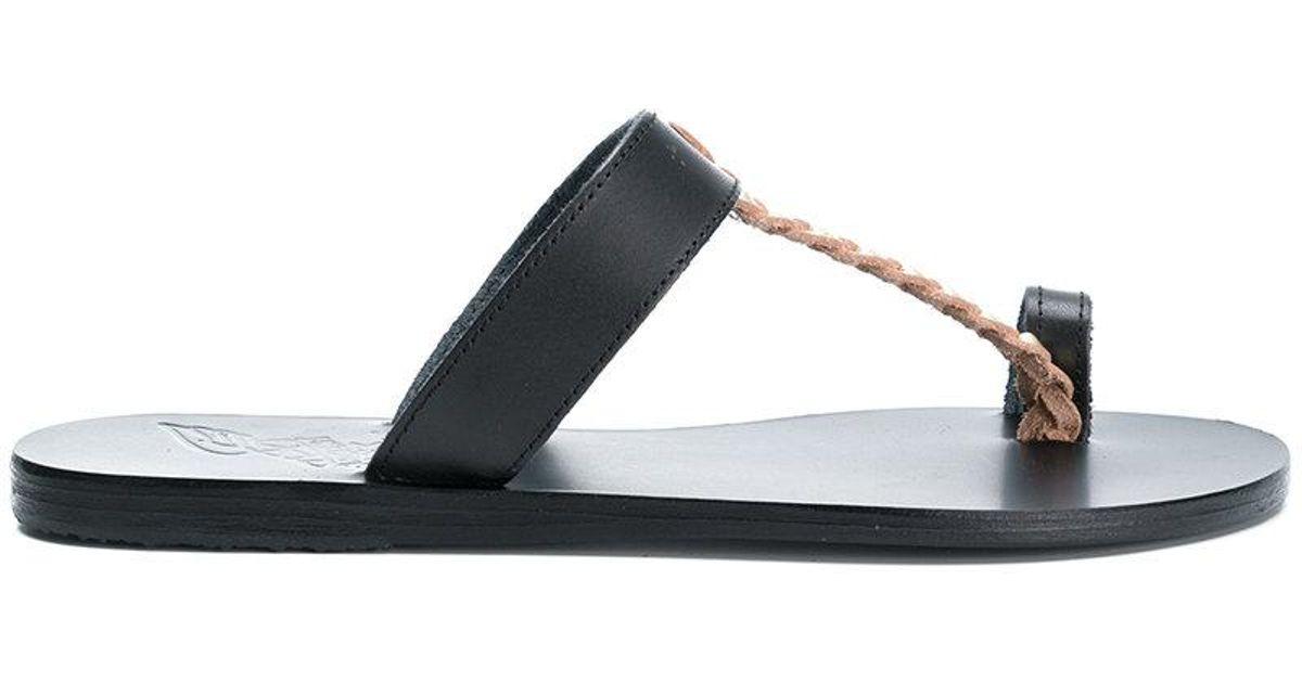 Melpomeni Nails Studded Leather Sandals - Black Ancient Greek Sandals Ym0eWbe