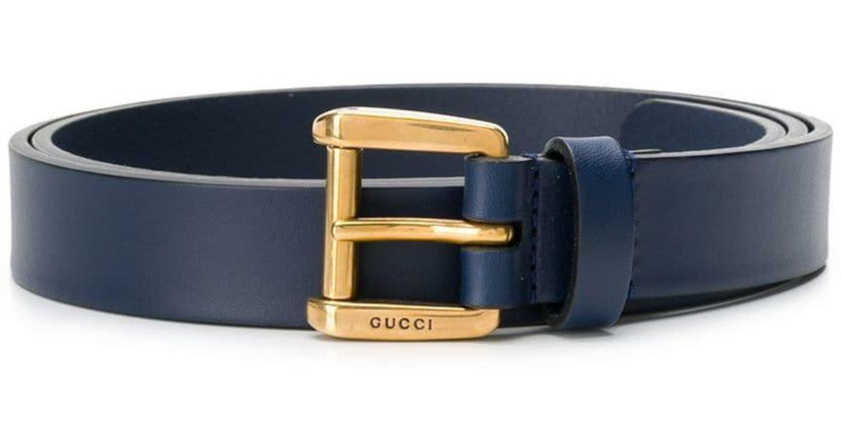 5431084fa22 Lyst - Gucci Logo Embossed Tang Buckle in Blue