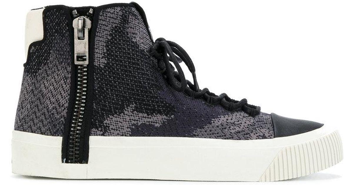 dd358c7b31df4 DIESEL Camouflage Print Hi-top Sneakers in Blue for Men - Lyst