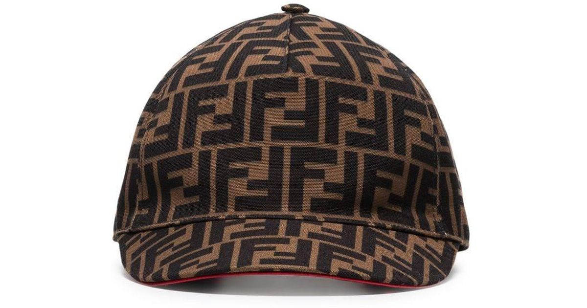 98e2d1728250ae Fendi Brown Ff Logo Cotton Baseball Cap in Brown - Lyst