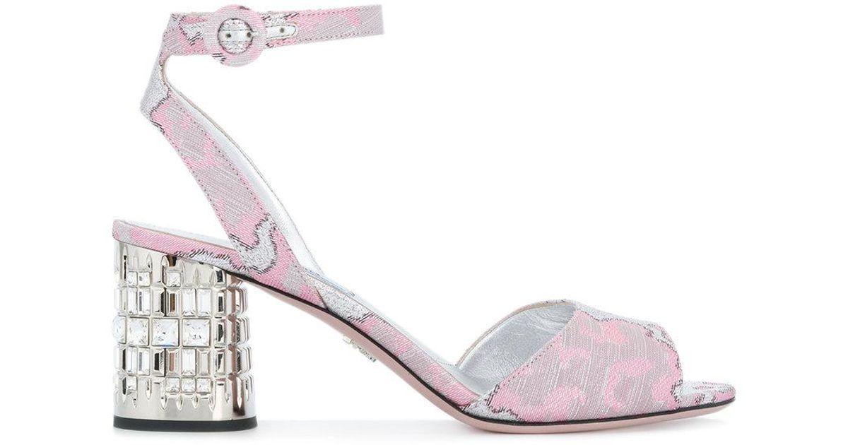 Lyst Prada Patterned Embellished Block Heel Sandals In Pink Fascinating Patterned Heels