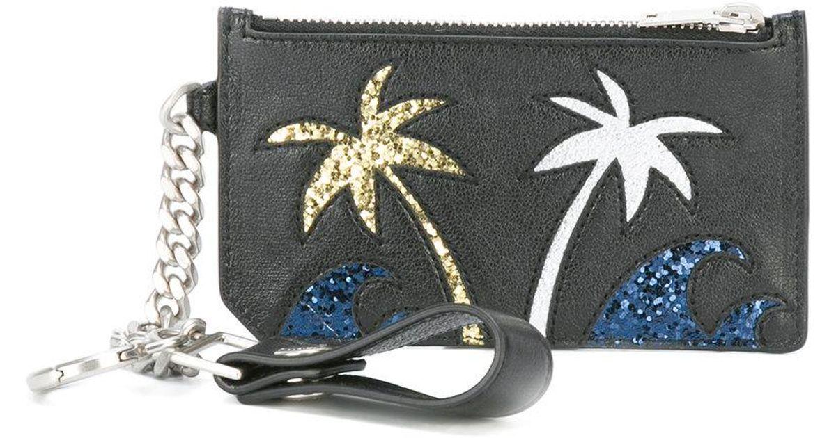 Saint Laurent Paris Fragments Sea, Sex & Sun keyring zip pouch - Black