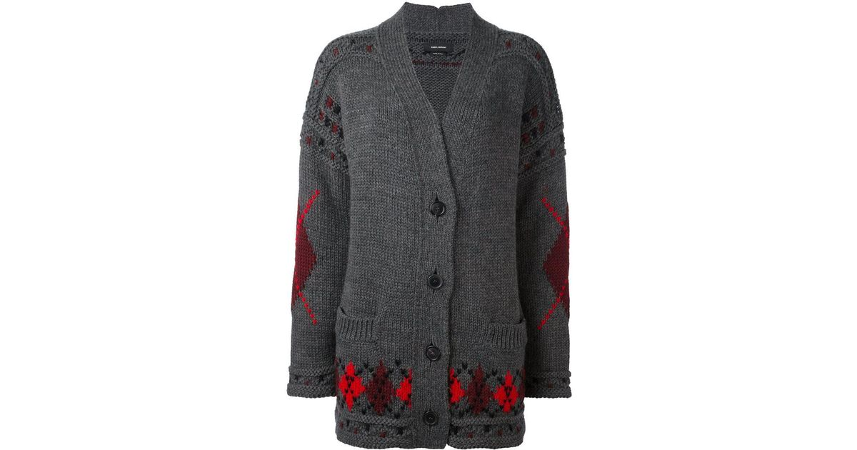 1f9afd2a7 Lyst - Isabel Marant  geena  Oversized Argyle Cardigan in Gray
