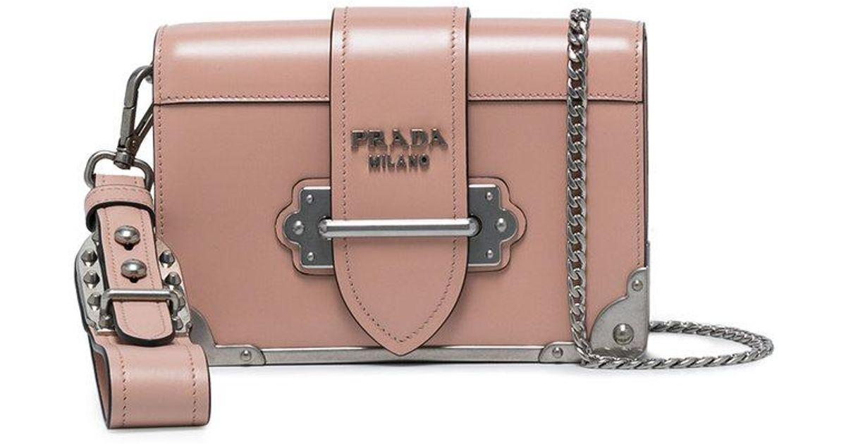 ed6dae904b27 Prada Pink Mini Cahier Shoulder Bag in Pink - Lyst