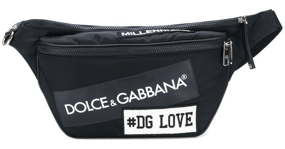 87a1b5fc0e Dolce & Gabbana Patch Appliqué Belt Bag in Black for Men - Lyst