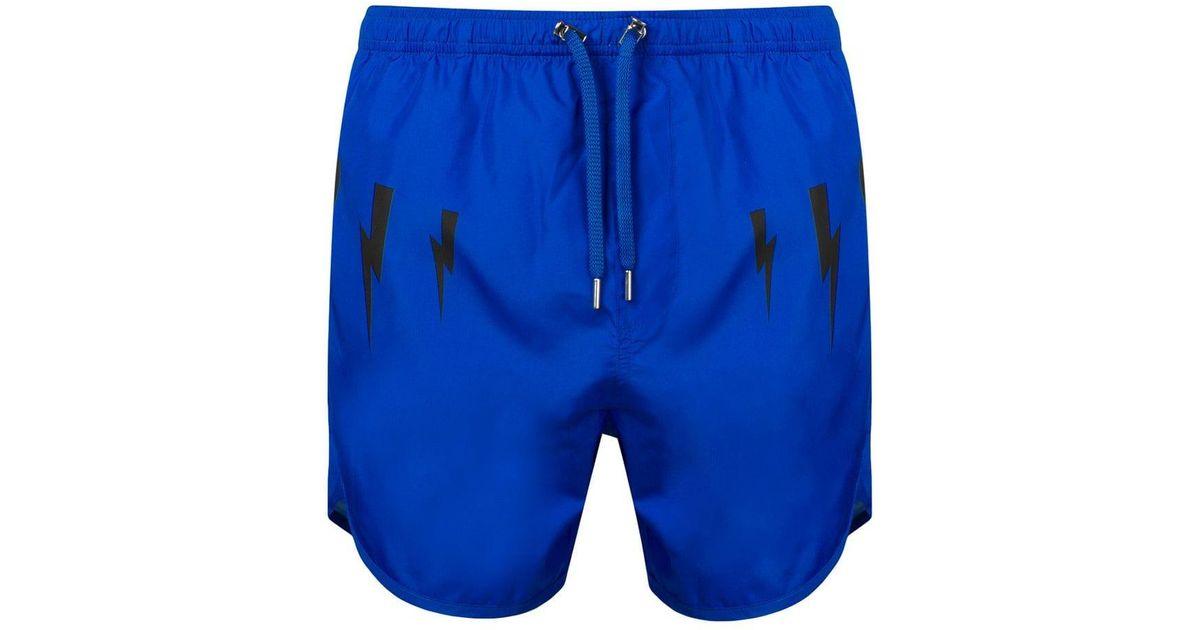 e646b2416a Lyst - Neil Barrett Lightning Bolt Print Swim Shorts in Blue for Men