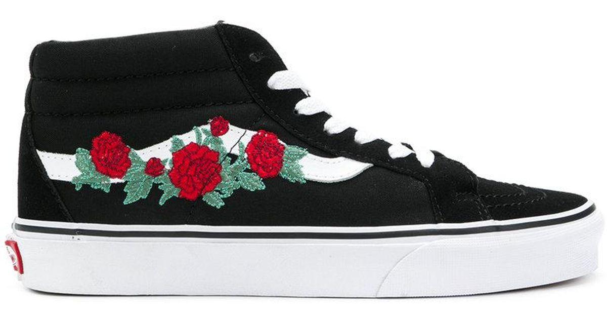 36b65dcf8c55 Lyst - Vans Embroidered Sneakers in Black