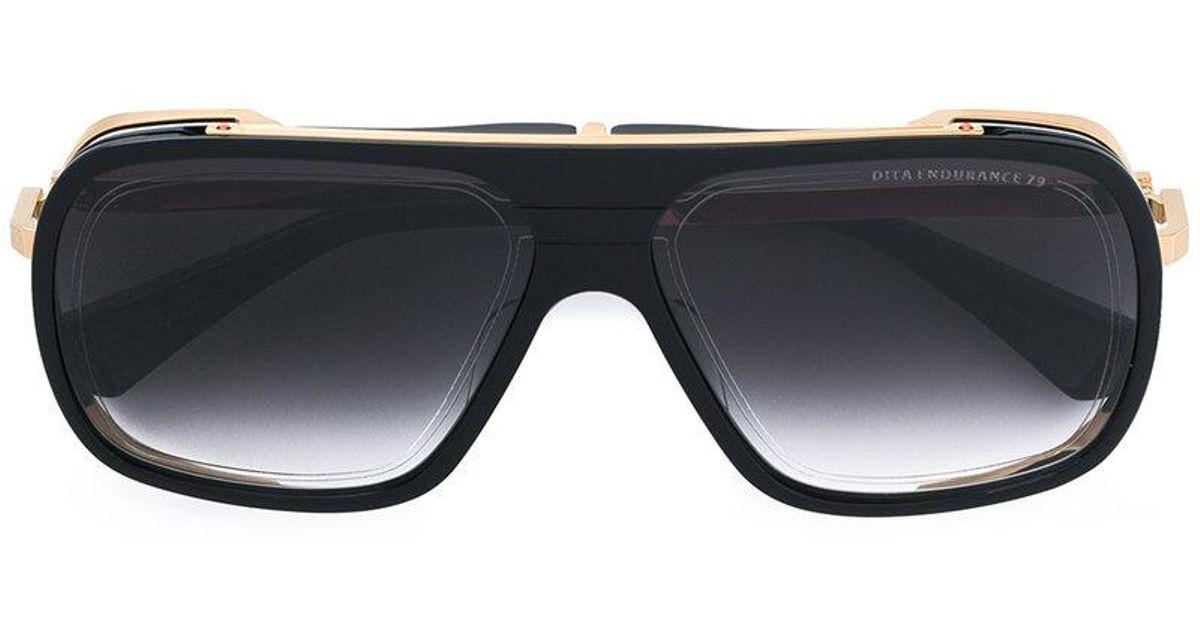 50f115e007db Dita Eyewear Gold Trim Oversized Sunglasses in Black - Lyst
