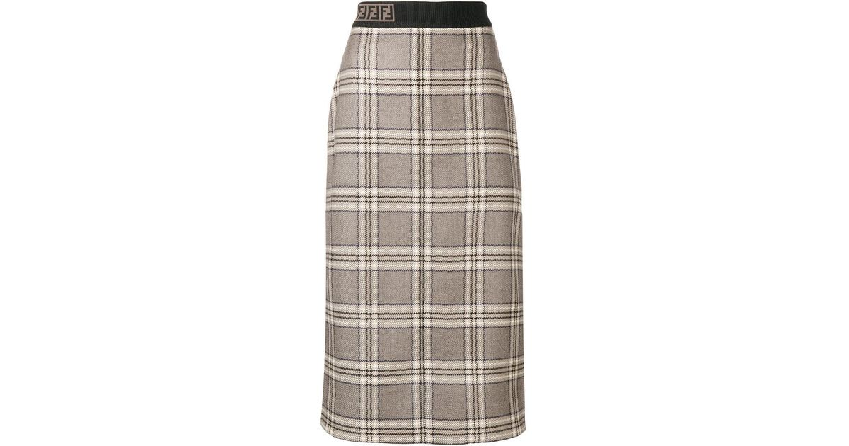 f0536bbd2f8b4a Lyst - Fendi Monogram Band Checked Midi Skirt in Brown