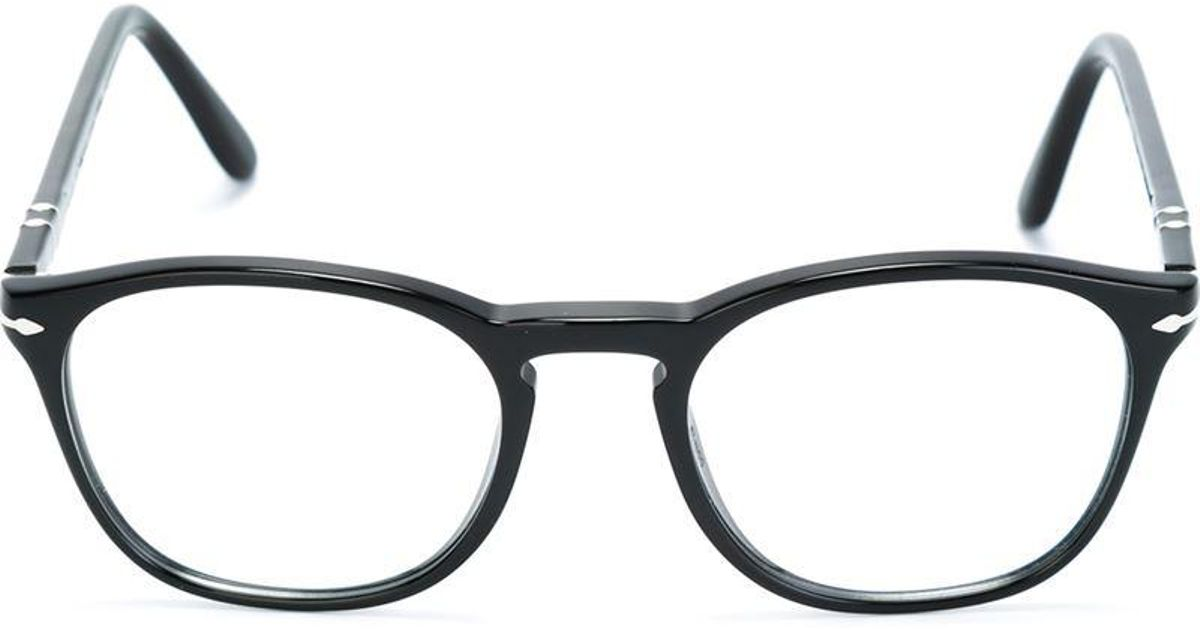 Persol Oval Frame Glasses in Black - Lyst