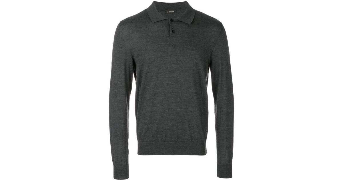 Z zegna longsleeved polo shirt in gray for men lyst for Zegna polo shirts sale