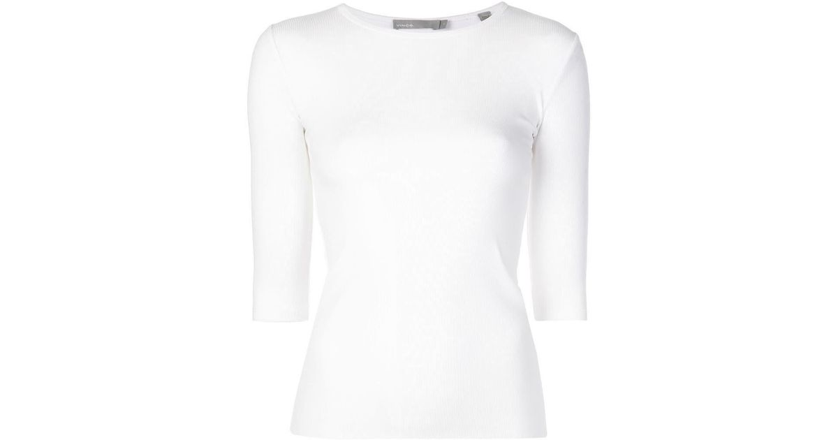 768518a9 Lyst - Vince Ribbed T-shirt in White