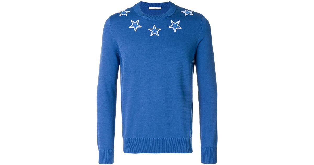 Lyst - Givenchy Star Patch Sweater in Blue for Men 0f8856bc7d5f