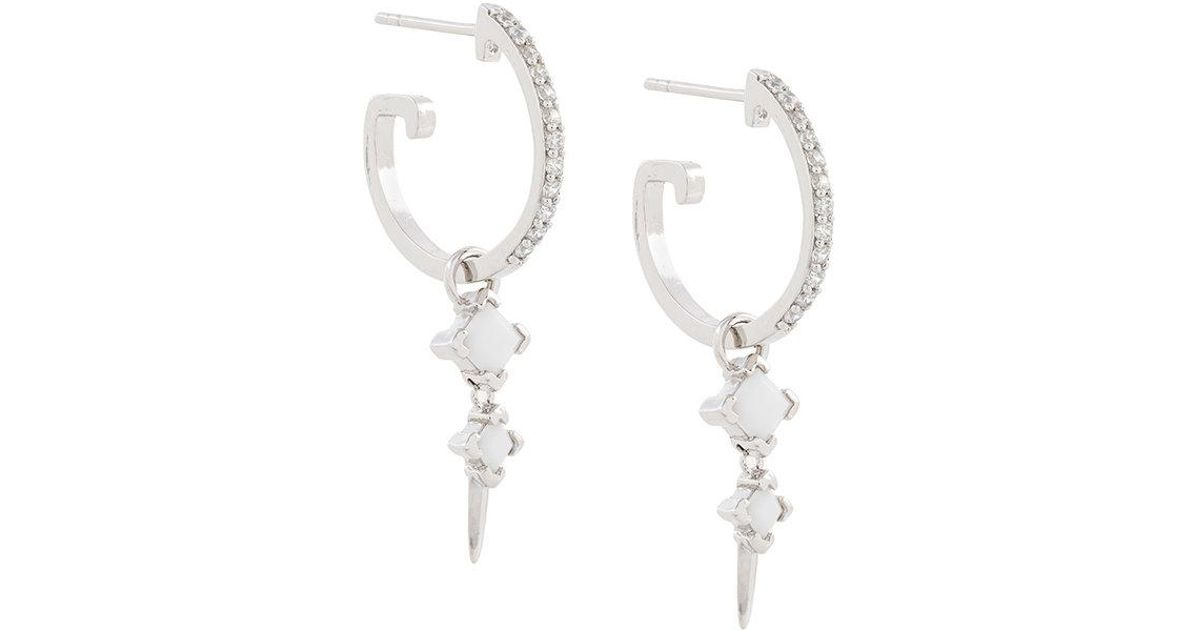 Bonnie Dropper Earrings On Maxi Hoops - Metallic V JEWELLERY pyW60o