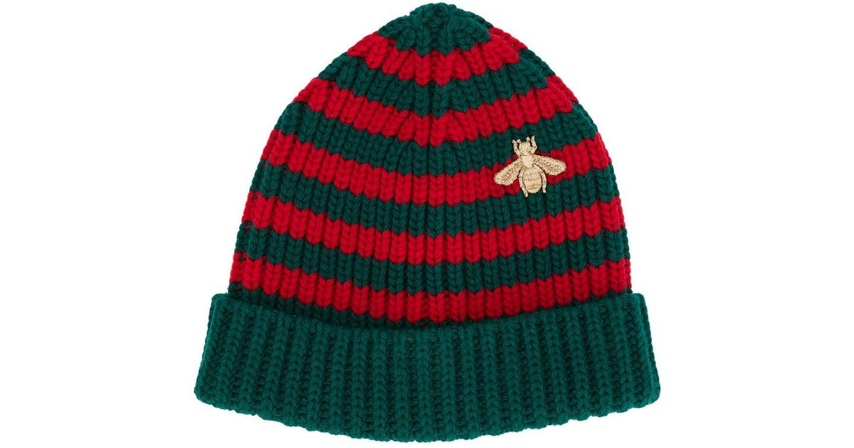 92e63a33fc59c Gucci Striped Beanie With Embroidery in Green for Men - Lyst