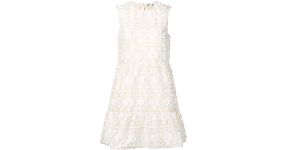 Lyst red valentino floral appliqué dress in white