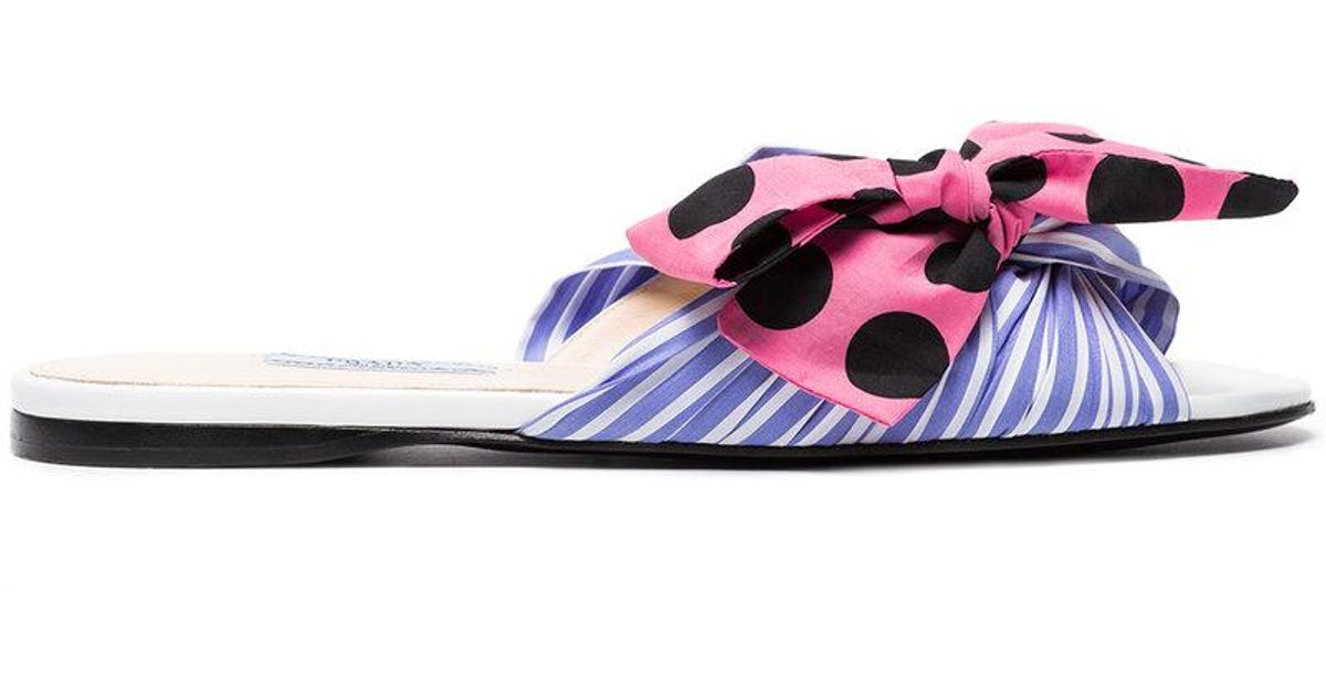 Multicoloured Striped Bow Leather Sandals - Blue Prada J68f16kz