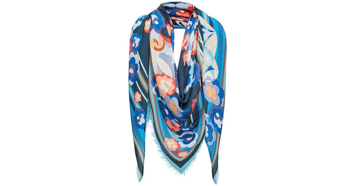 2f413c3fe2a Lyst - Fendi Floral Shawl Scarf in Blue