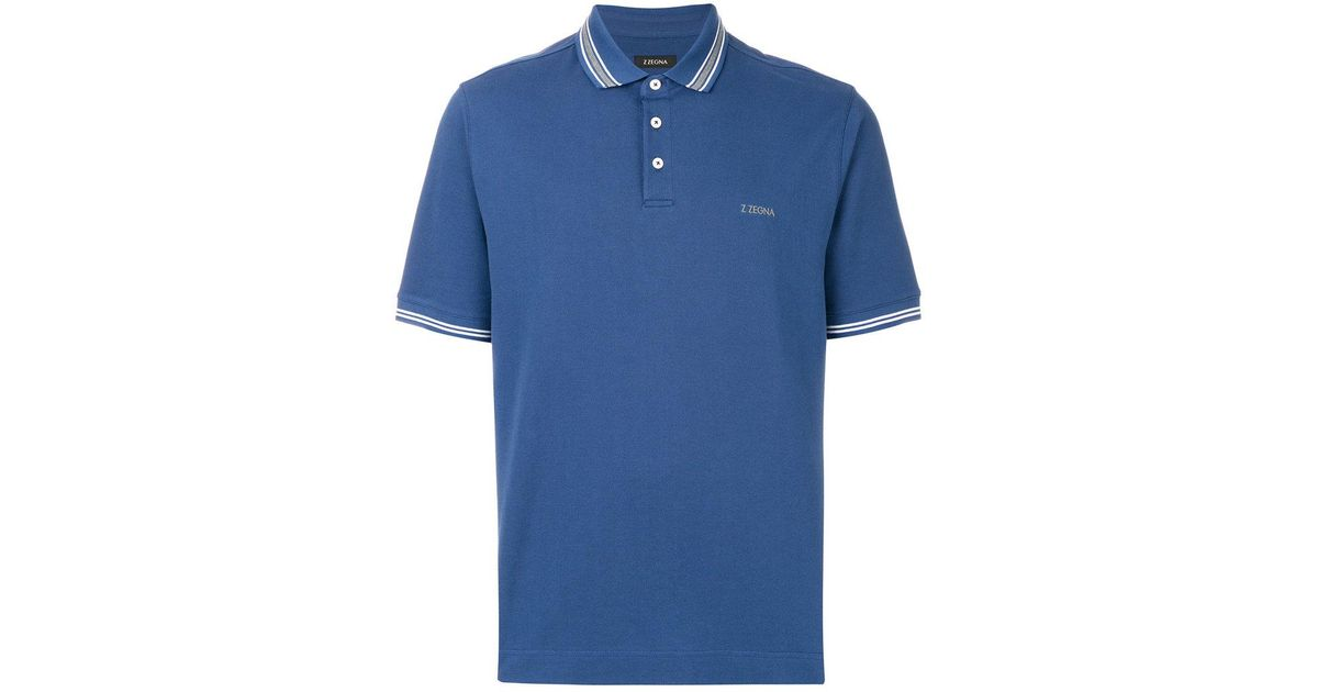 Lyst z zegna striped trim polo shirt in blue for men for Zegna polo shirts sale