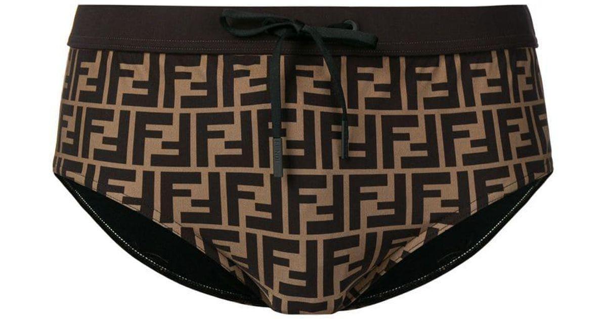 8425d5d2d1 Fendi Ff Logo Swimming Trunks in Brown for Men - Lyst