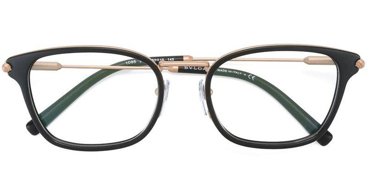 Bvlgari Square Frame Glasses in Black for Men | Lyst