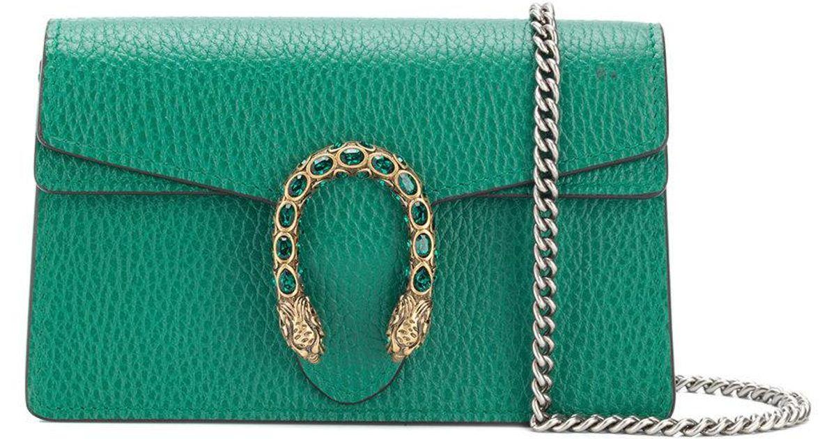 ec1b4dc7d87 Lyst - Gucci Women s Dionysus Leather Super Mini Bag - Emerald in Green