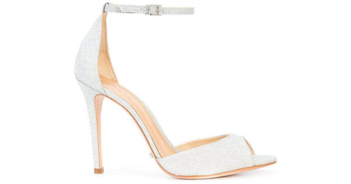 a65655972f8128 Lyst - Schutz Glitter-effect Sandals in Metallic