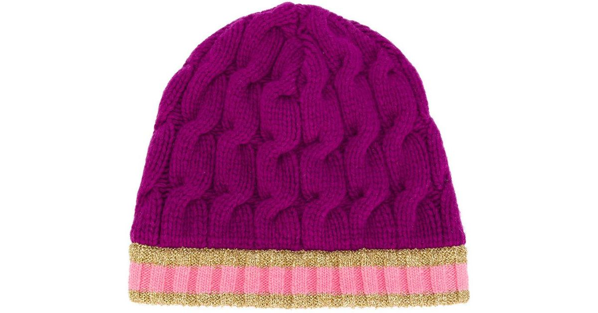 32e7bbb21f2f3 Lyst - Gucci Cable Knit Beanie Hat in Purple