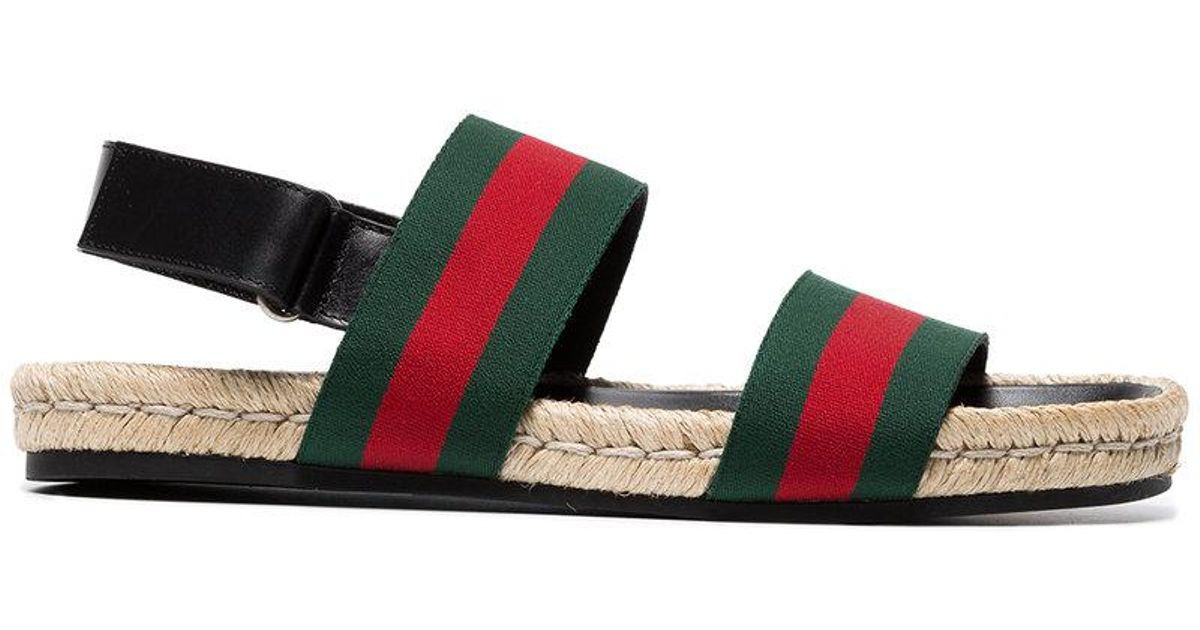 94ced4e9a Gucci Green And Red Web Sandals in Green for Men - Lyst
