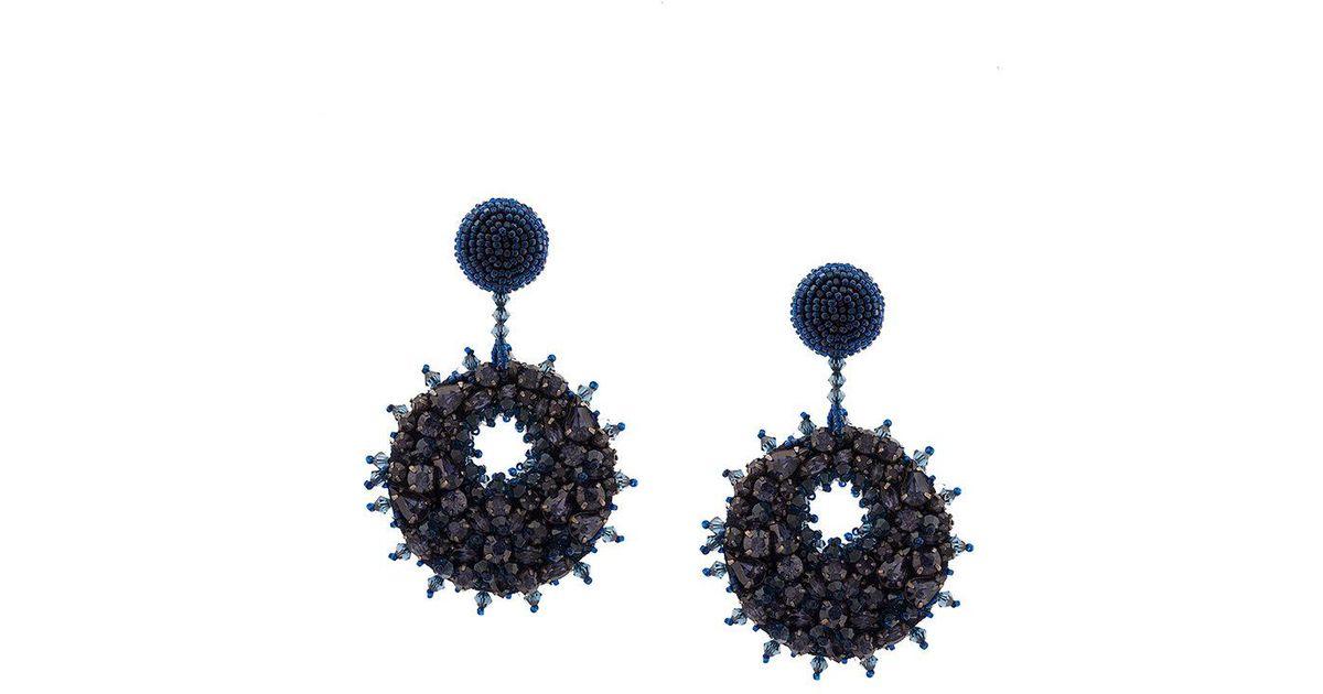 beaded crystal disk earrings - Blue Oscar De La Renta 1cKOw3pUy