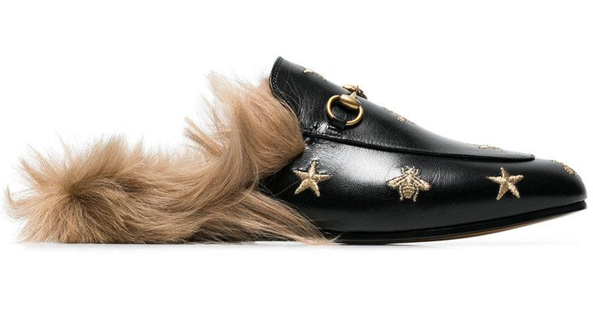 a1b2720d7 Gucci Princetown Bee And Star Embroidered Fur Lined Loafers in Black - Lyst