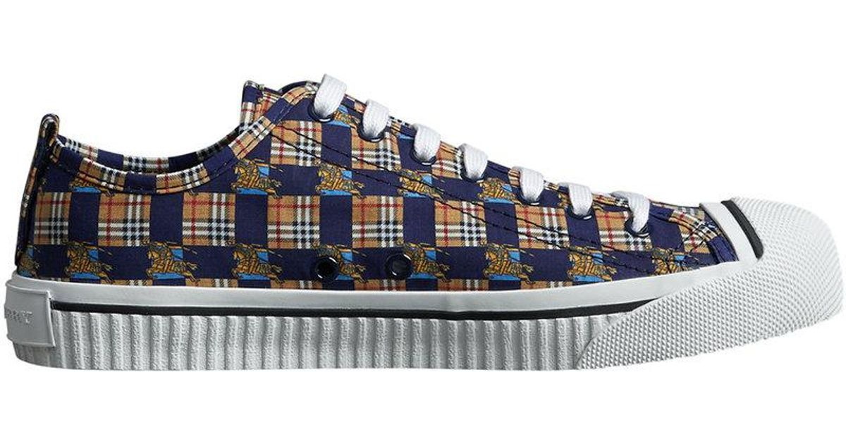 Nicekicks Cheap Online Discount Outlet Tiled Archive Print Cotton Sneakers - Blue Burberry RXChxgGXv
