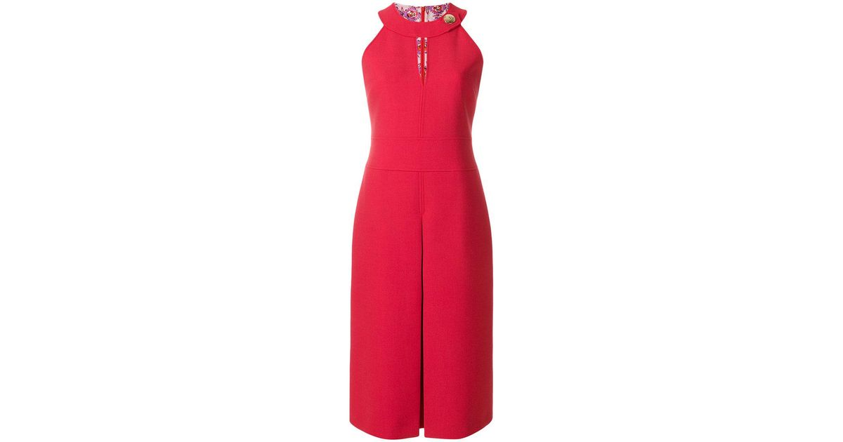 keyhole-detail halterneck dress - Red Emilio Pucci TOhU3aRD