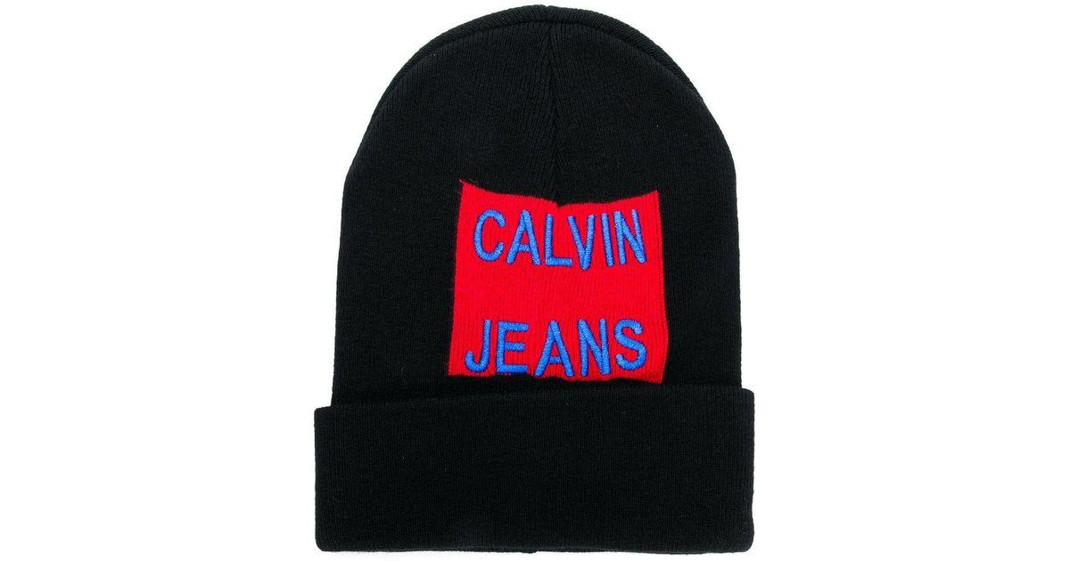 5037782b929 Calvin Klein Logo Embroidered Beanie in Black - Lyst