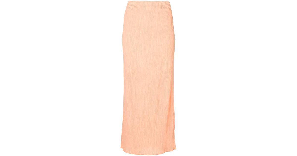 115a617a16 Issey Miyake Pleated Mid Length Skirt in Orange - Lyst