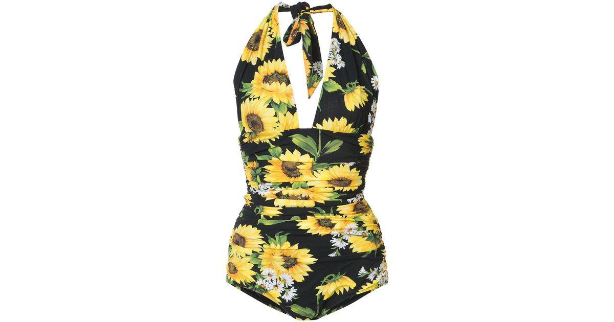 14d666bb5e Lyst - Dolce   Gabbana Sunflower Swimsuit in Yellow