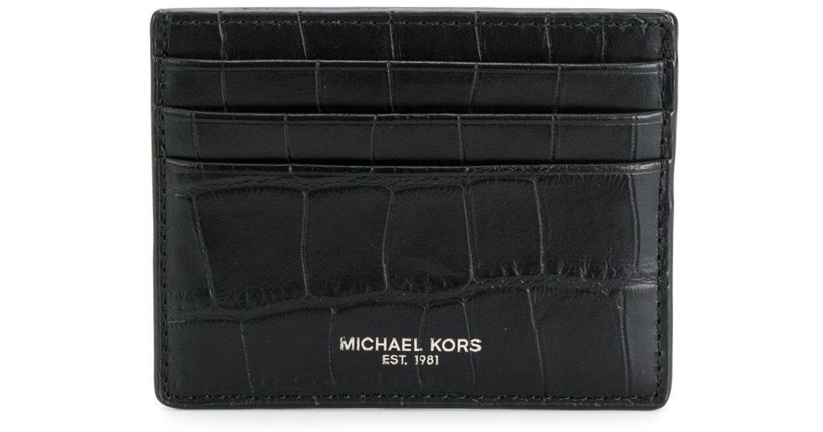 72844d122f701 Lyst - Michael Kors Crocodile Embossed Cardholder in Black for Men