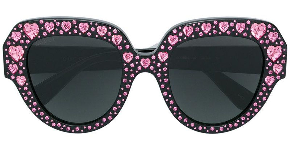 0af848fb141 Lyst - Gucci Crystal Heart Embellished Oversized Sunglasses in Black