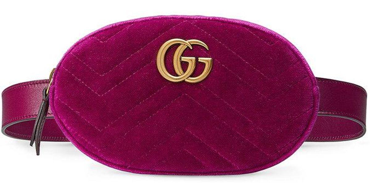 907b3a10d91 Gucci Gg Marmont Matelé Velvet Belt Bag In Purple Lyst