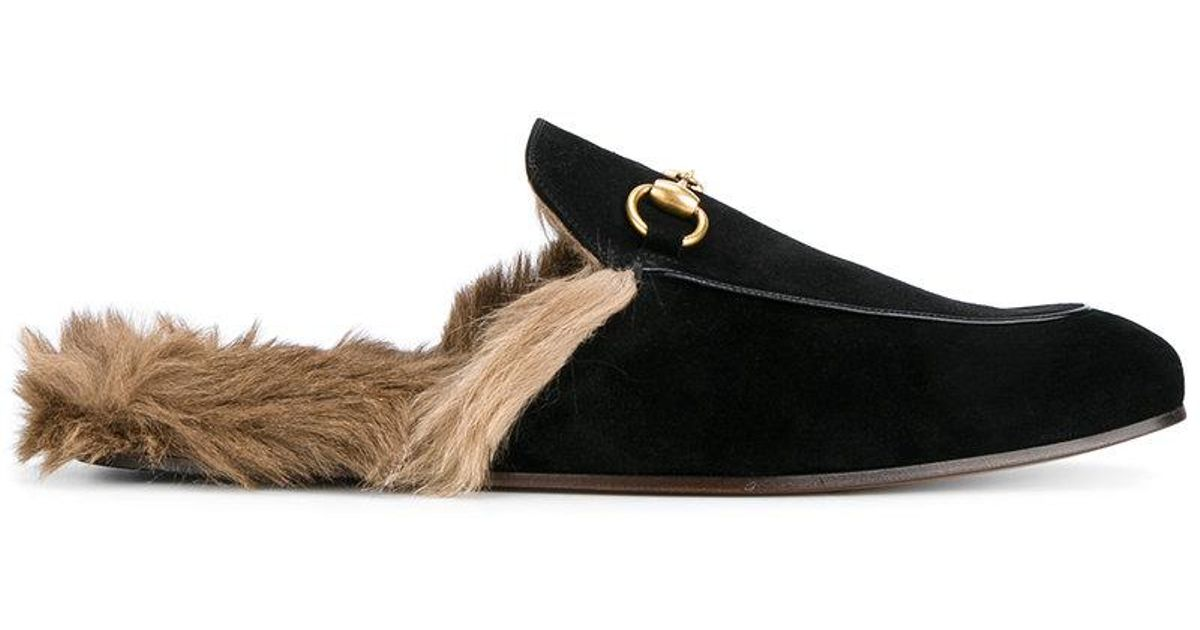 Lyst - Gucci Fox Fur Lining Slippers in Black for Men df4f653e7
