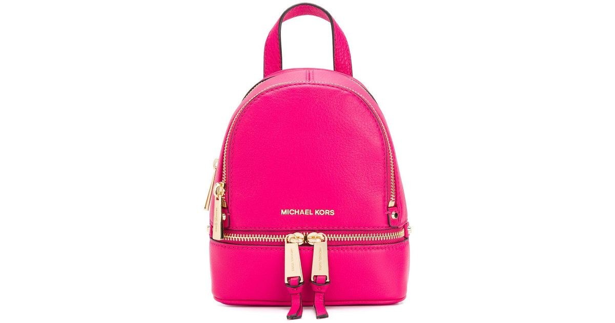 b9a3a31c0764 ... new zealand lyst michael michael kors rhea mini backpack in pink 65fc0  cee32