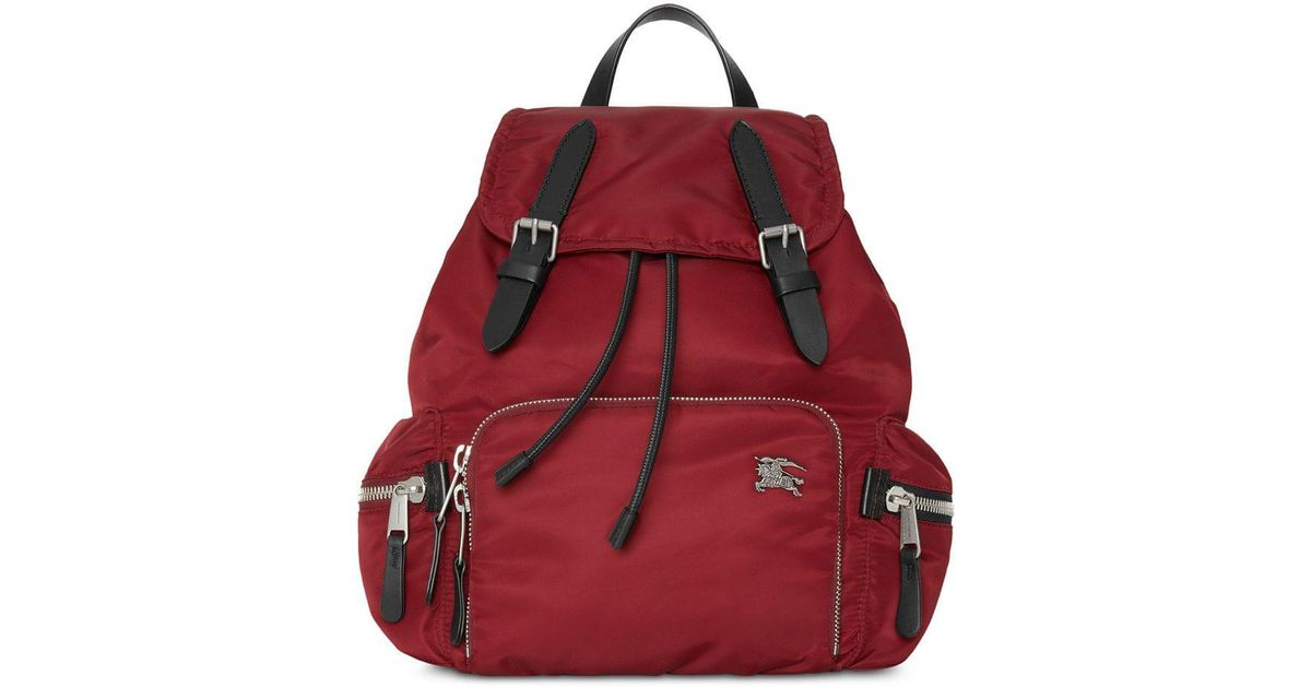 2f2ed63bd52 Burberry The Medium Rucksack In Nylon And Leather in Red - Save 5% - Lyst