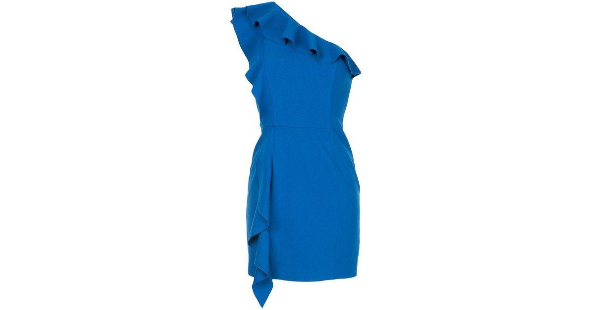 Caspian One-shoulder Ruffled Crepe Mini Dress - Blue Rebecca Vallance 9Z3DcjzI