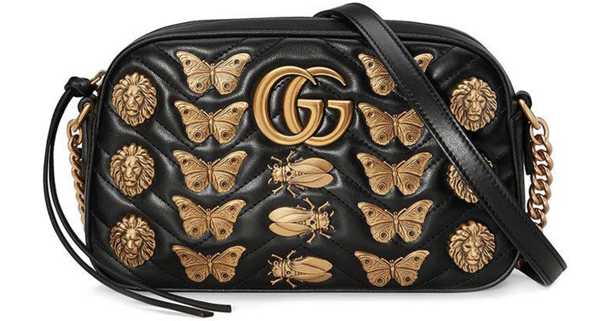 972f55640d23 Lyst - Gucci Gg Marmont 2.0 Animal Studs Matelasse Leather Shoulder Bag -  in Black