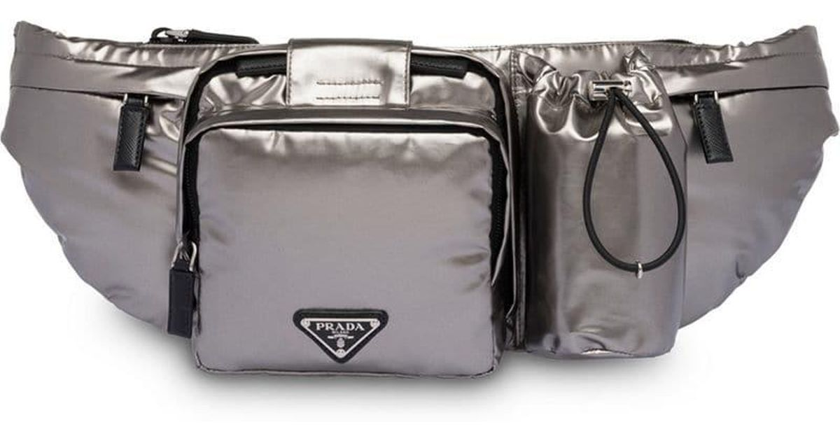 0c93938f0f7b Prada Technical Fabric Belt Bag in Metallic for Men - Lyst