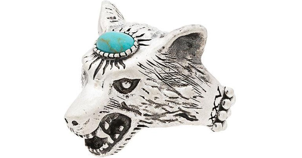 61ff9d0920b7 Lyst - Gucci Turquoise Anger Forest Wolf Head Sterling Silver Ring in  Metallic for Men