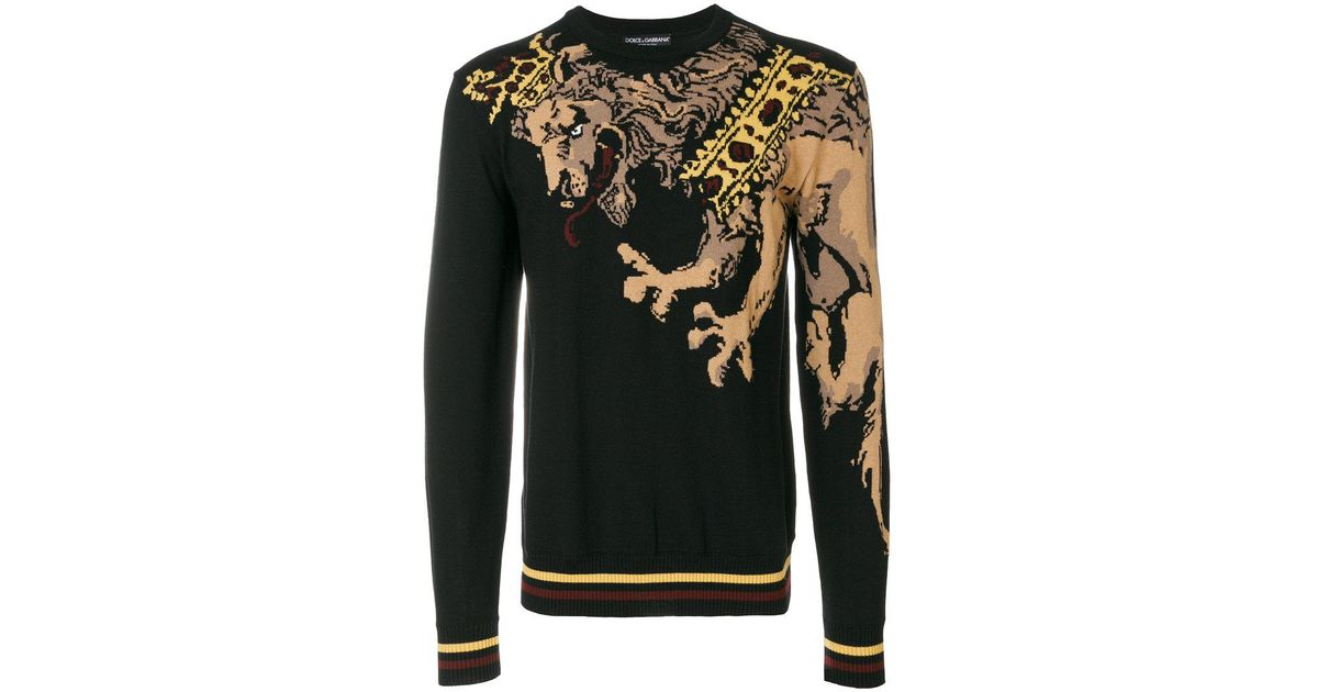d0f402ef Dolce & Gabbana Lion Embroidered Sweater in Black for Men - Lyst